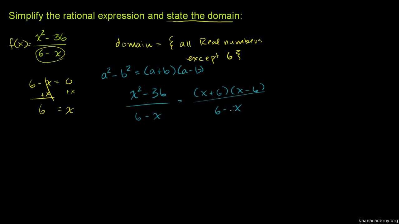 Intro To Rational Expression Simplification Video Khan Academy