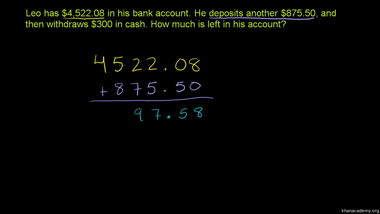 adding subtracting decimals word problem video khan academy - Adding And Subtracting Decimals Worksheet