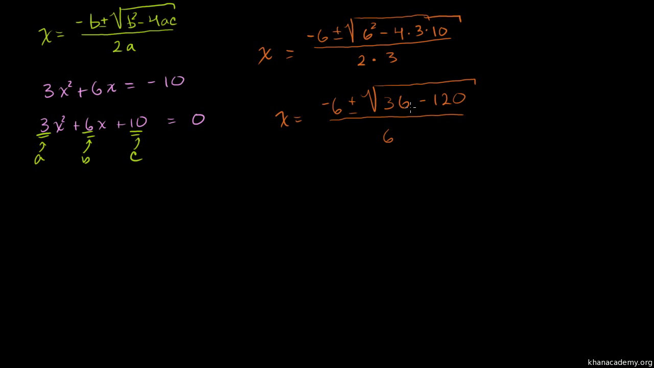 Worked Example Quadratic Formula Algebra Video Khan Academy