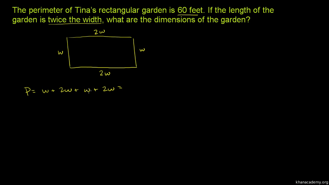 Two-step equation word problem: garden (video) | Khan Academy