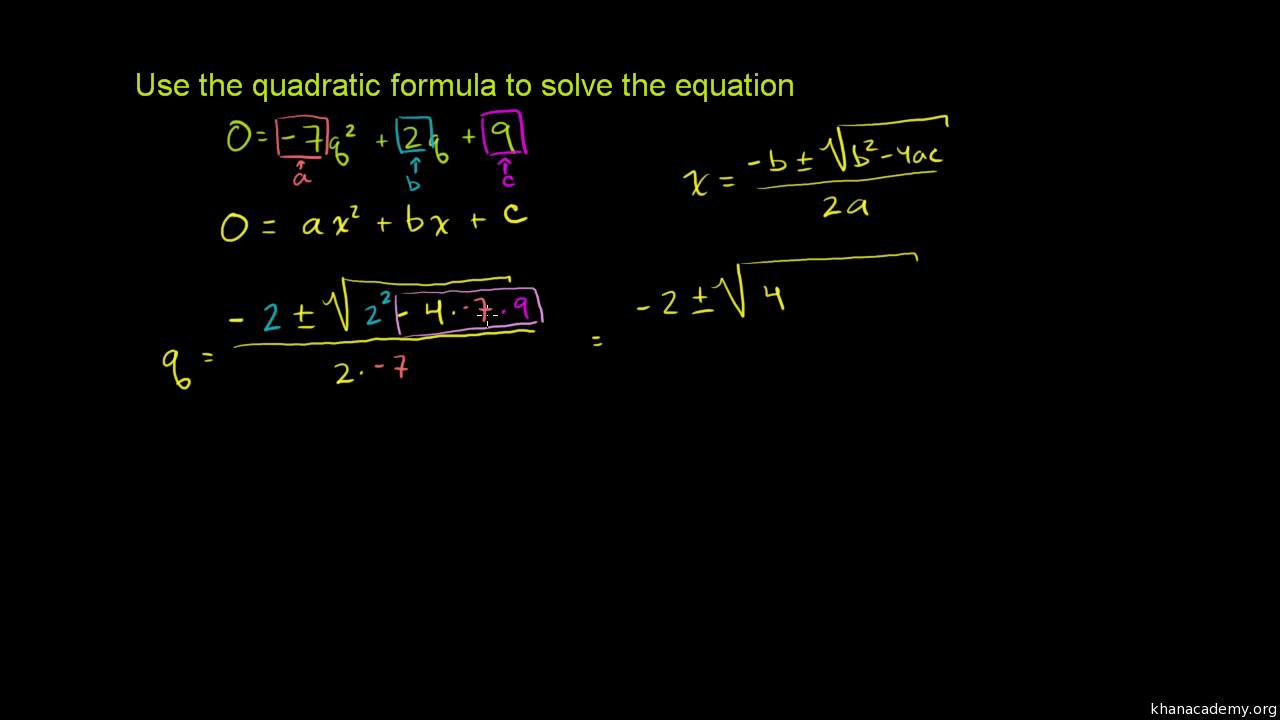 Worked example quadratic formula algebra video khan academy falaconquin