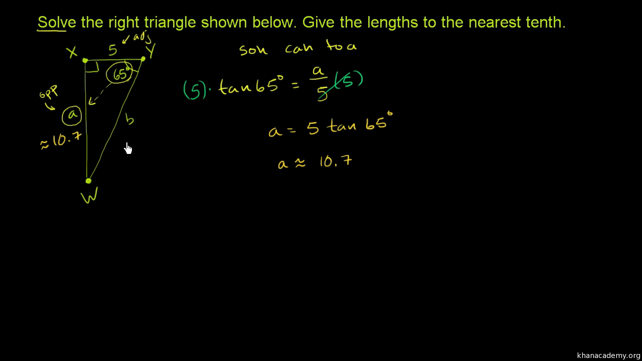 Solving For A Side In Right Triangles With Trigonometry (article)  Khan  Academy