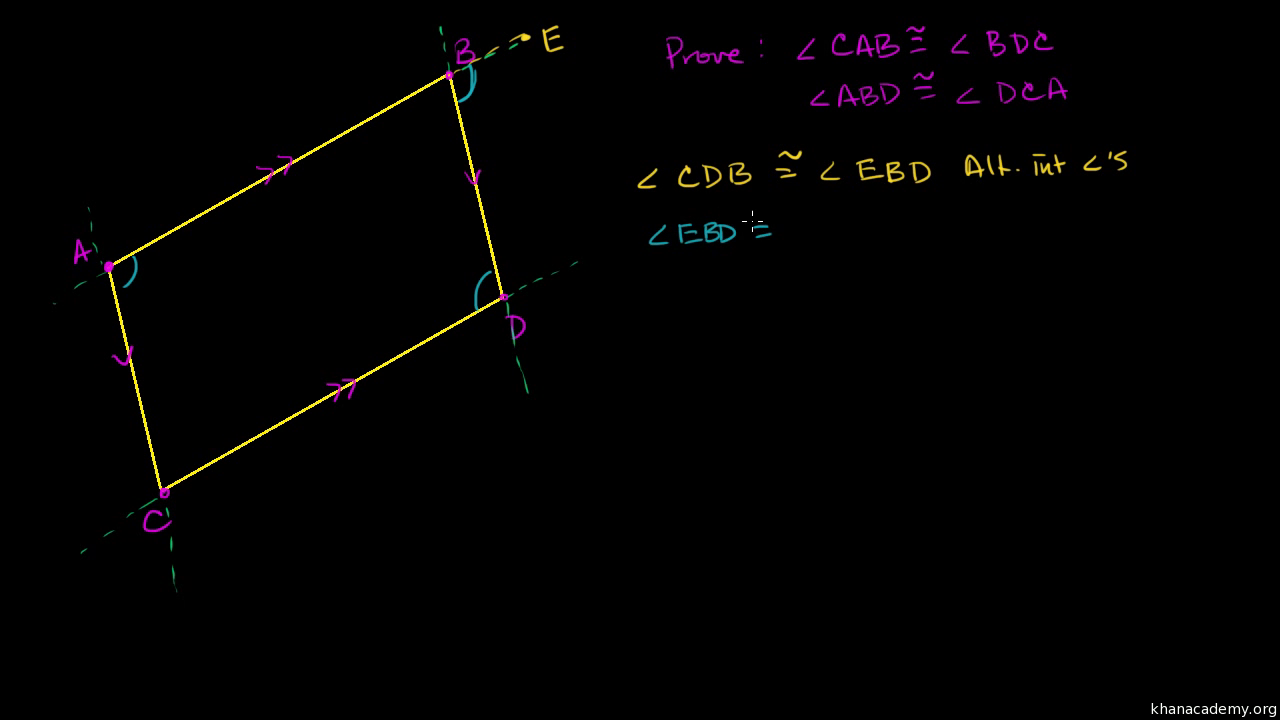 Proof Opposite Sides Of A Parallelogram Video Khan Academy