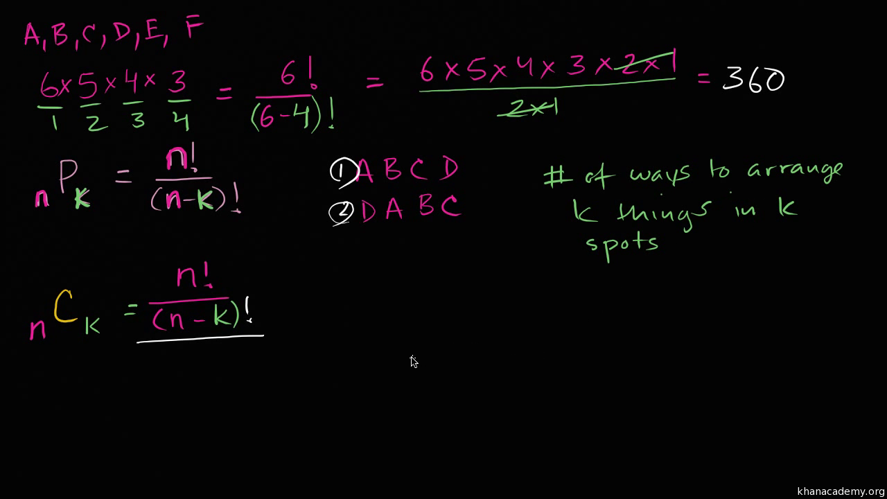 Intro To Combinations Video Combinations Khan Academy