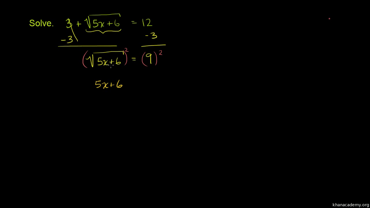 Solve Square Root Equations Practice Khan Academy