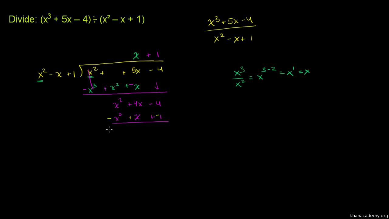 Dividing Polynomials With Remainders Video Khan Academy