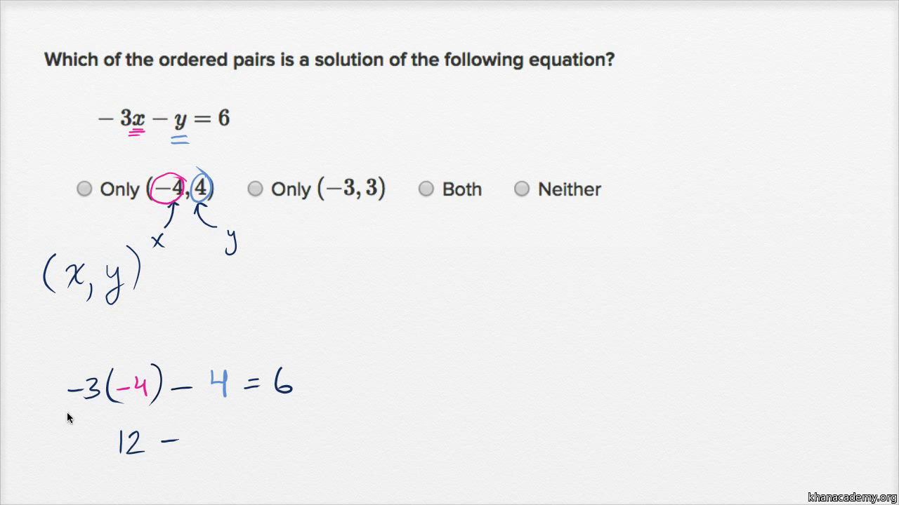 solutions to 2-variable equations (video) | khan academy