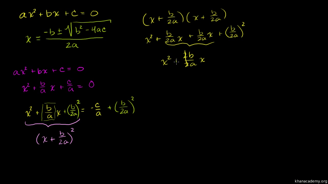 Quadratic Equations Functions Algebra All Content Khan Academy