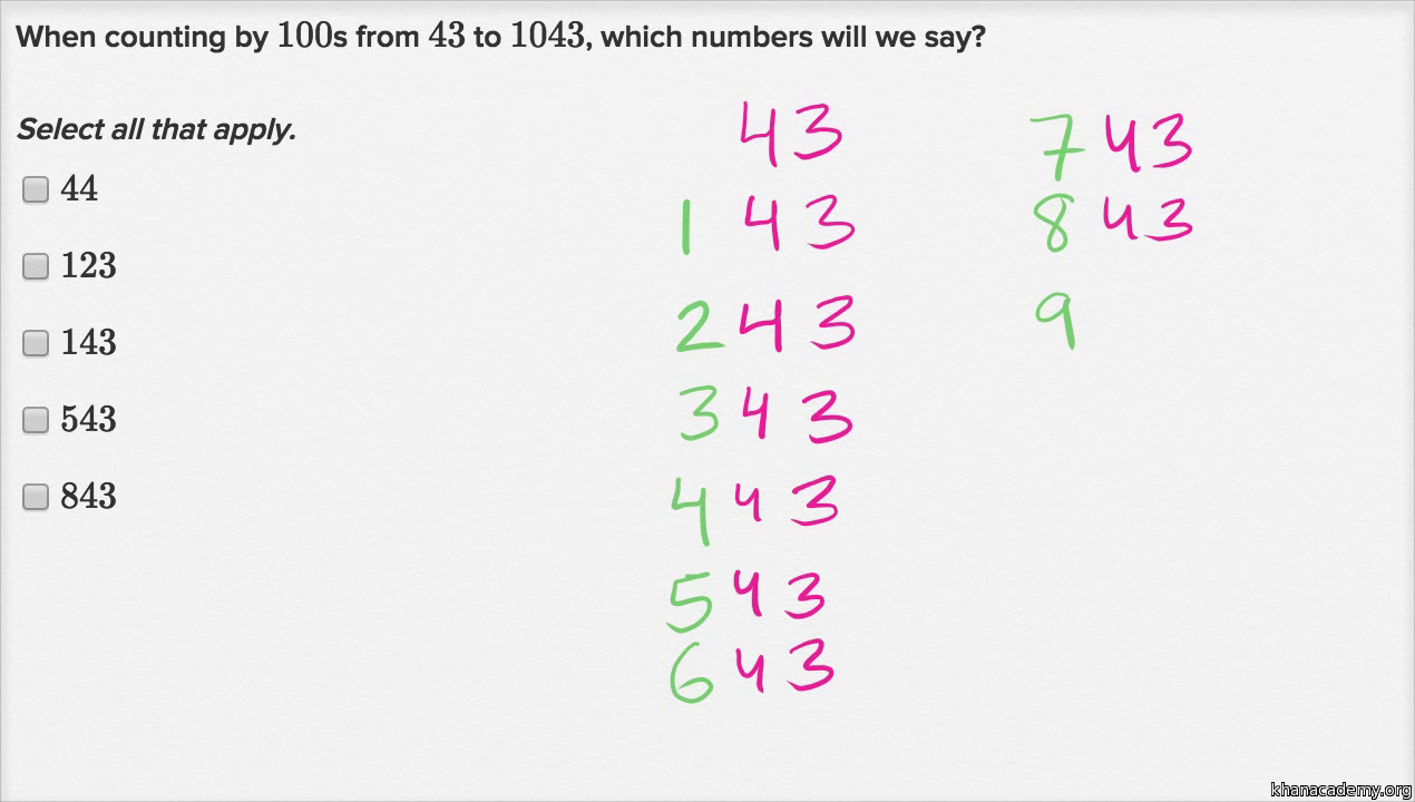 skip counting by 100s video khan academy