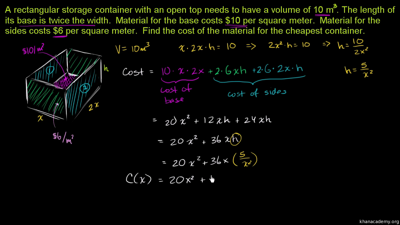 Optimization: Area Of Triangle & Square (part 1) (video)  Khan Academy