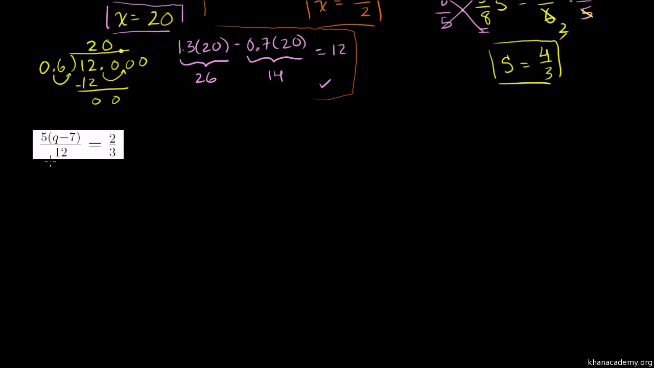 Two Step Equations With Decimals And Fractions Practice Khan Academy