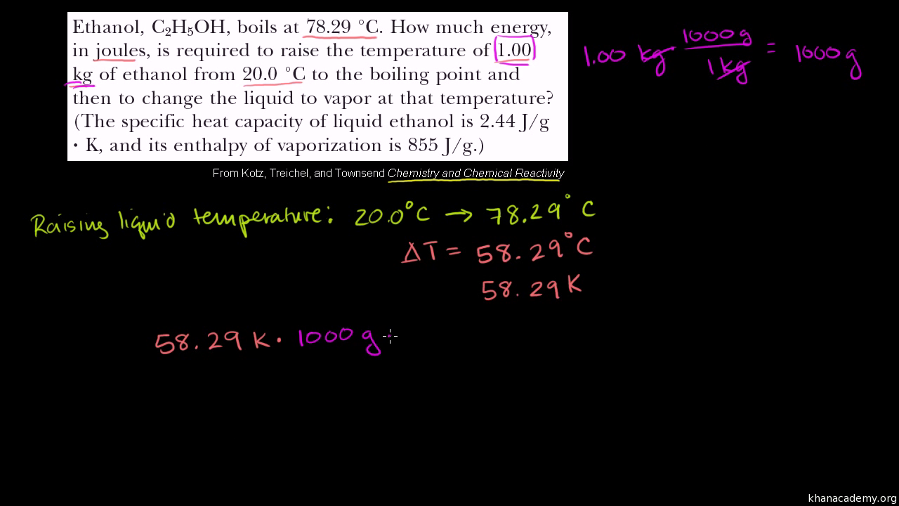 worksheet Heat And Its Measurement Worksheet Answers specific heat of fusion and vaporization example video khan academy
