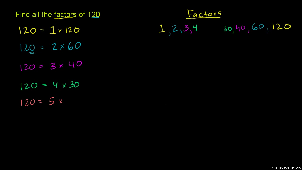 Worksheet List All The Factors Of 100 finding factors of a number video khan academy