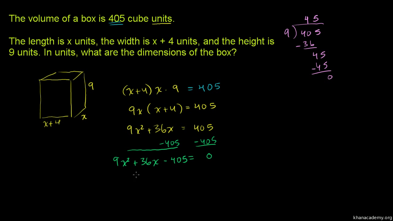 quadratic equations word problem: triangle dimensions (video) | khan