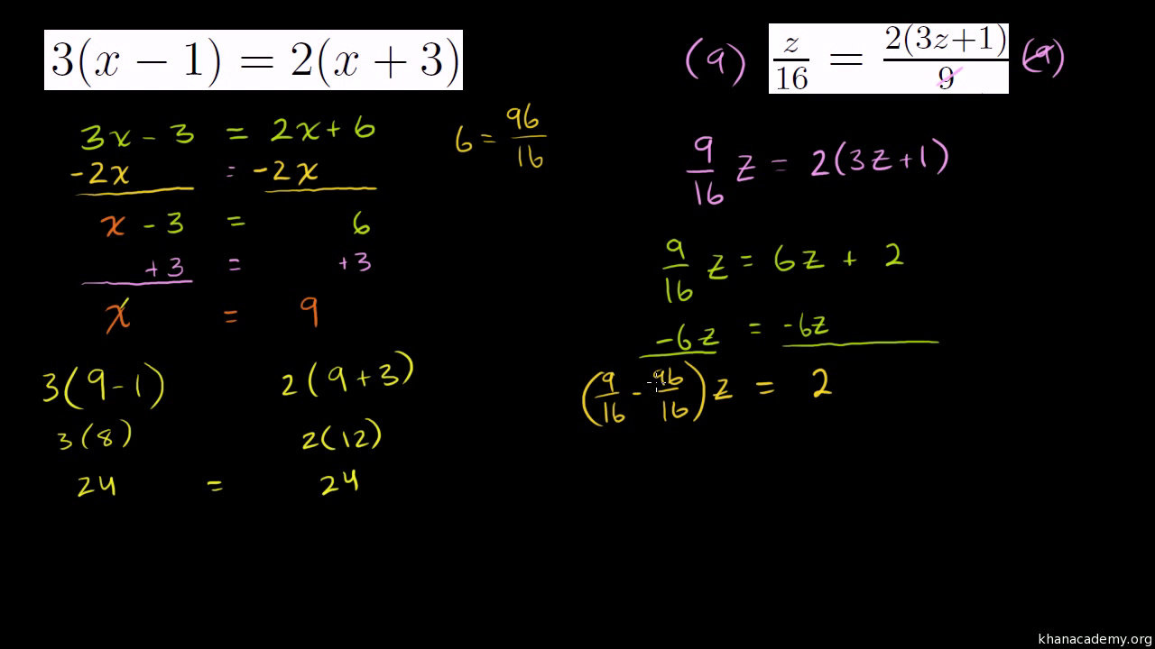 worksheet Multi Step Equations With Fractions ex 2 distributive property to simplify video khan academy