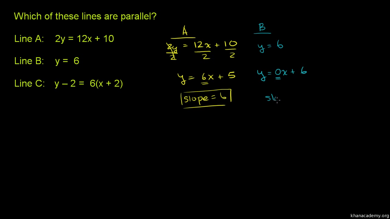 Parallel lines from equation example 2 analytic geometry parallel lines from equation example 2 analytic geometry video khan academy robcynllc Image collections