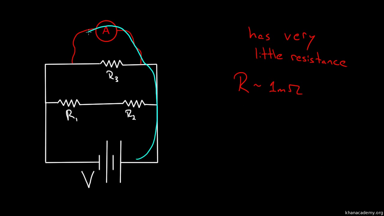 Voltmeters And Ammeters Video Khan Academy Resistor Formula Above We Can Calculate The Total Circuit Resistance