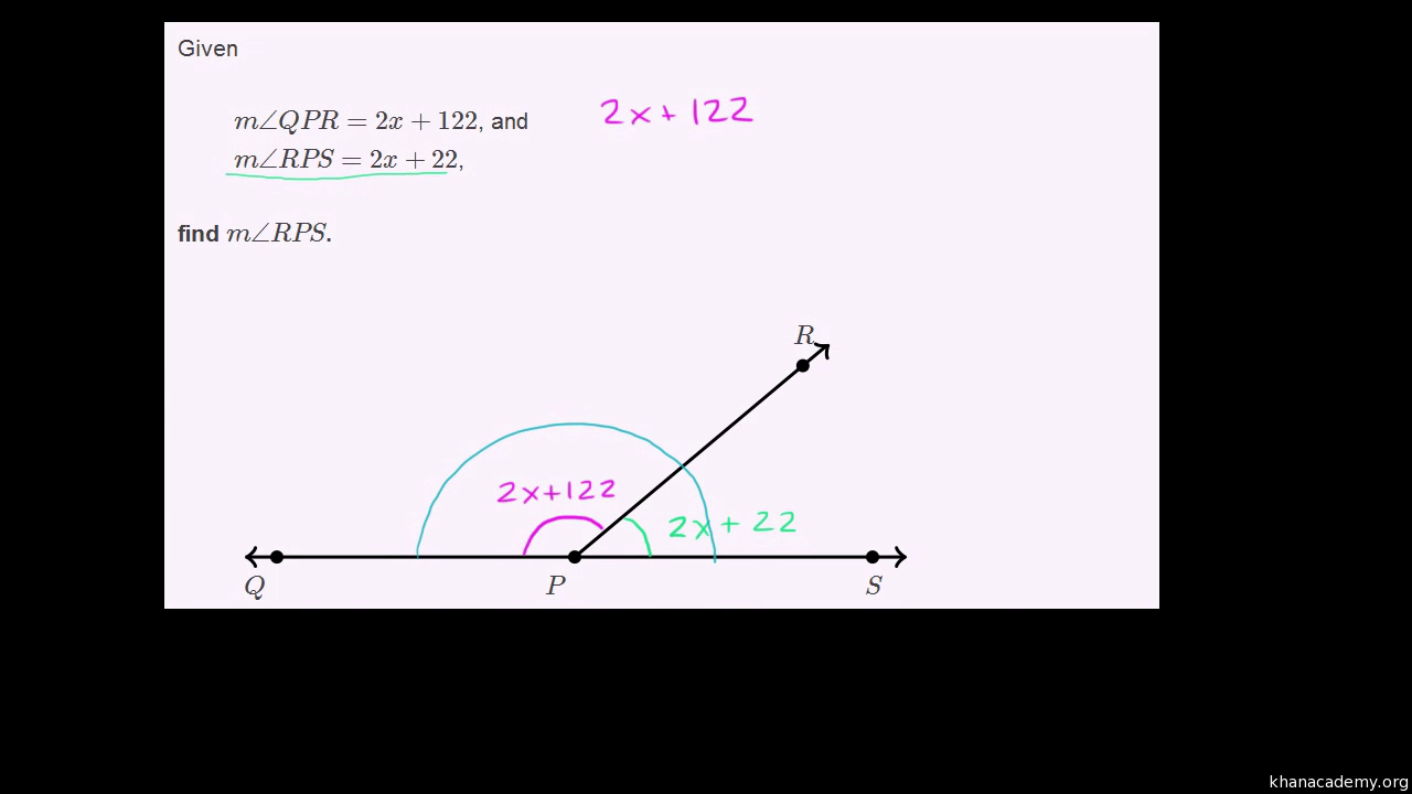 worksheet Supplementary Angles equation practice with supplementary angles video khan academy