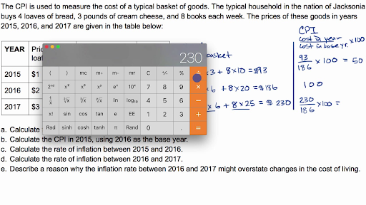 Example question calculating CPI and inflation