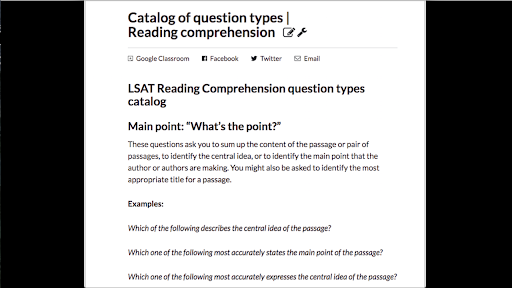 Catalog of question types | Reading comprehension (article) | Khan
