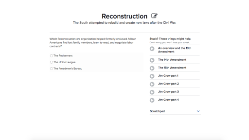 Reconstruction Practice Khan Academy