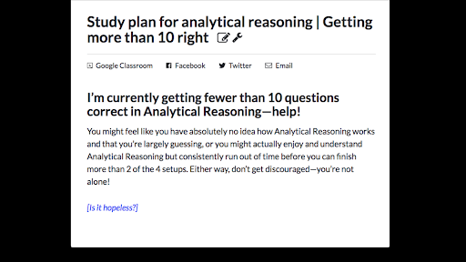 Study plan for analytical reasoning | Getting more than 10