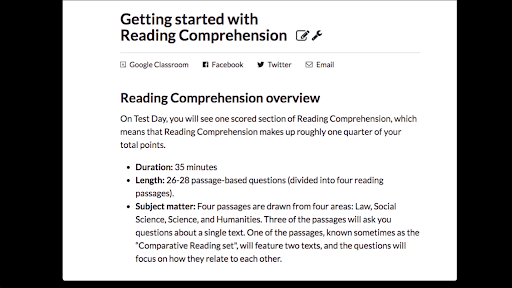 Getting started with Reading Comprehension (article) | Khan
