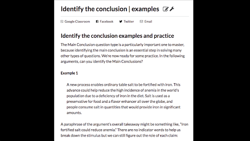 Identify the conclusion | examples (article) | Khan Academy