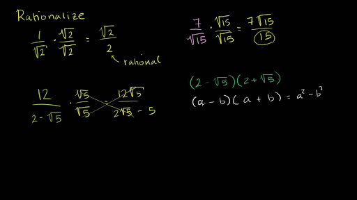 Intro To Rationalizing The Denominator Algebra Video Khan Academy