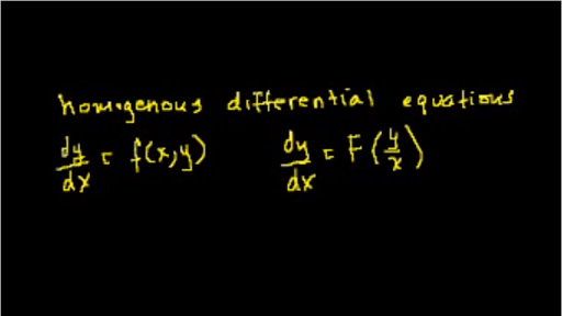 First order homogenous equations