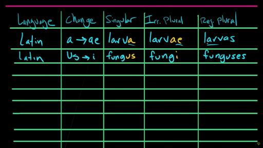 Irregular plural nouns – foreign plurals