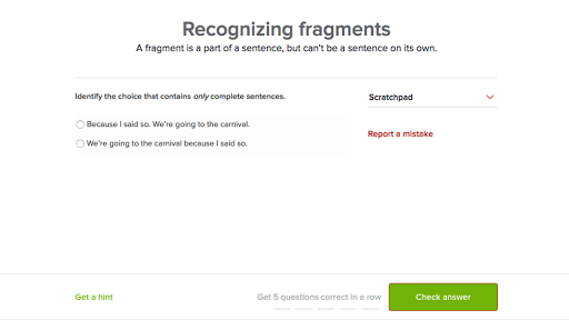 Recognizing Fragments Practice Khan Academy