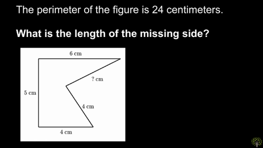 Finding missing side length when given perimeter
