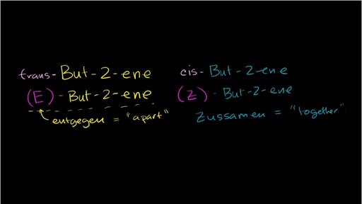 cis-trans and E-Z naming scheme for alkenes