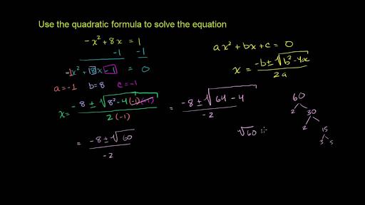 Quadratic Equations Algebra Math Khan Academy