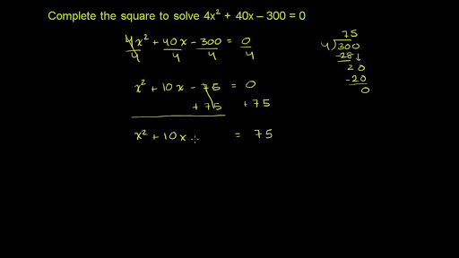 Worked example: completing the square (leading coefficient ≠ 1 ...