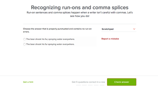 Recognizing Run Ons And Comma Splices Practice Khan Academy