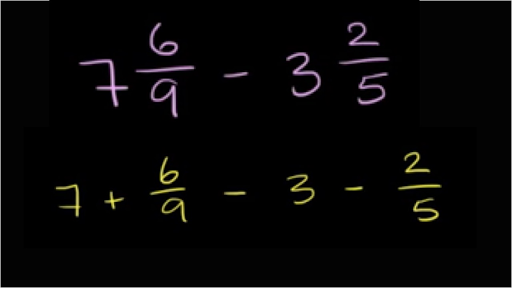 Subtracting mixed numbers: 7 6/9 - 3 2/5