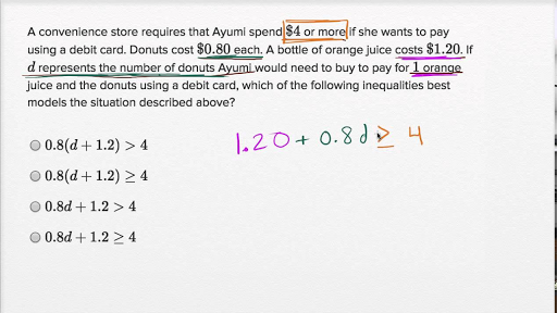 Linear Inequality Word Problems Basic Example Video Khan Academy