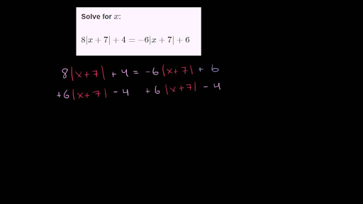 Worked Example Absolute Value Equation With Two Solutions Video