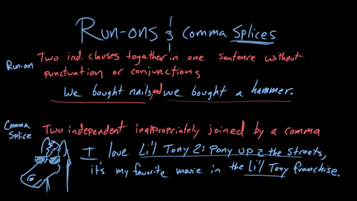 Run Ons And Comma Splices Video Khan Academy