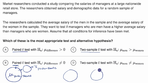 Hypotheses for a two-sample t test