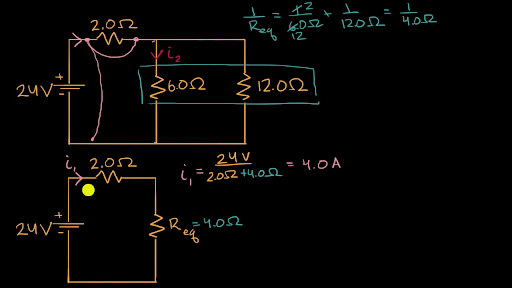Current through resistor in parallel: Worked example