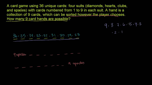Combination example: 9 card hands