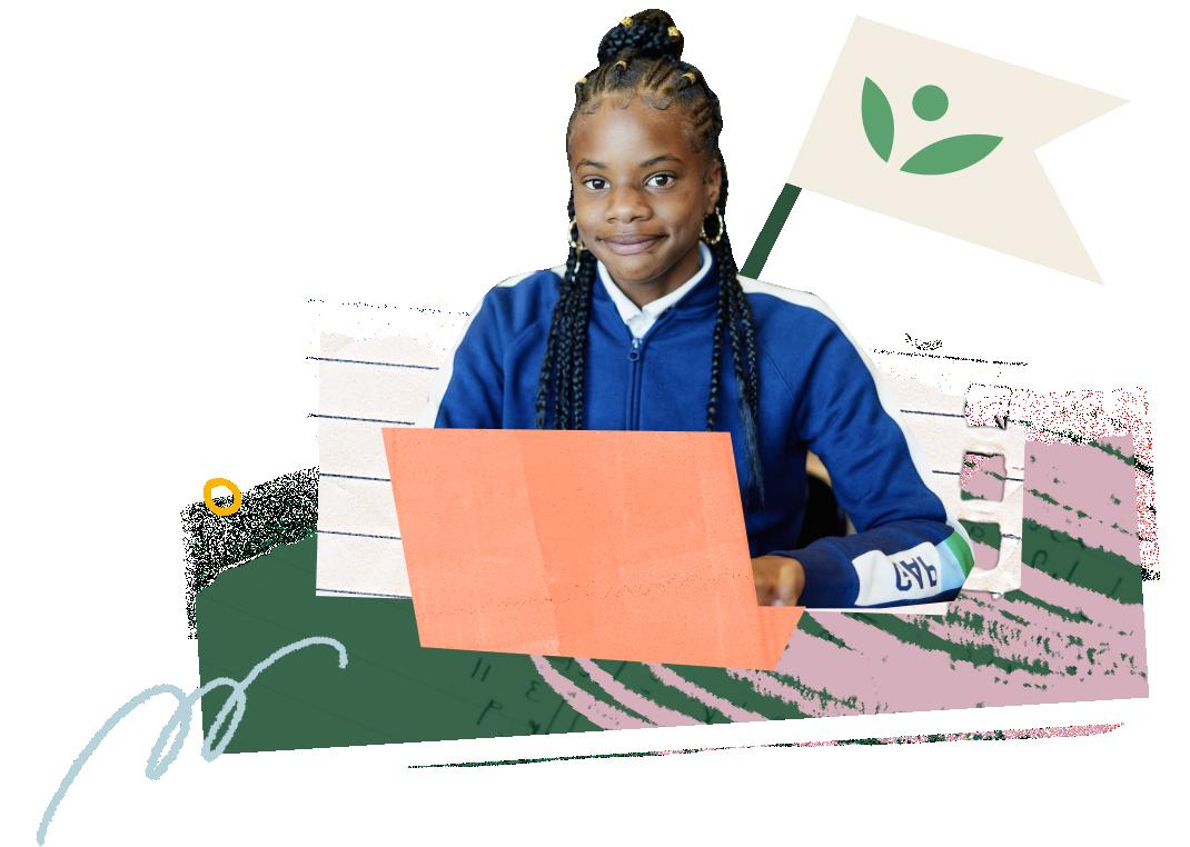 Una estudiante con una computadora portátil