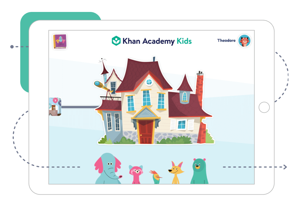 Snímek domovské stránky Khan Academy Kids na tabletu