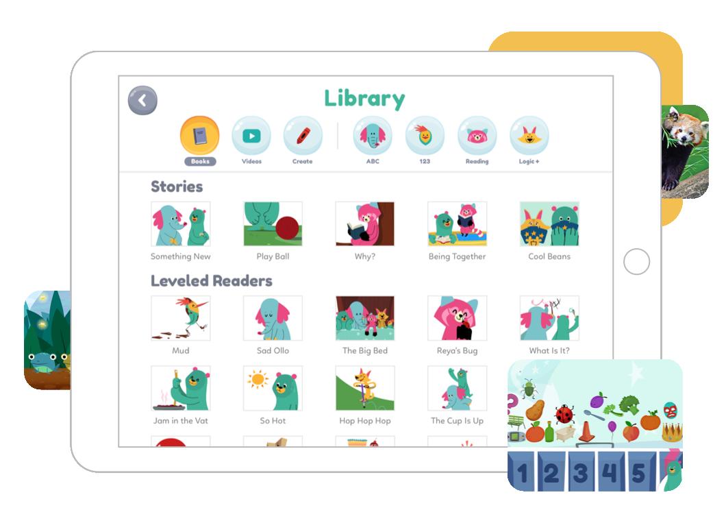 Snímek stránky knihovny Khan Academy Kids na tabletu