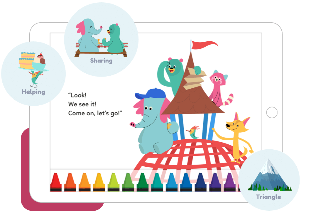 Snímek obrazovky tabletu, na kterém se medvídek Kodi s kamarády rozhlíží kolem, s textem 'Look! We see it! Come on, let's go!'. Nahoře jsou  dvě okna s názvem 'Helping' (pomáháme si) a 'Sharing' (sdílíme).