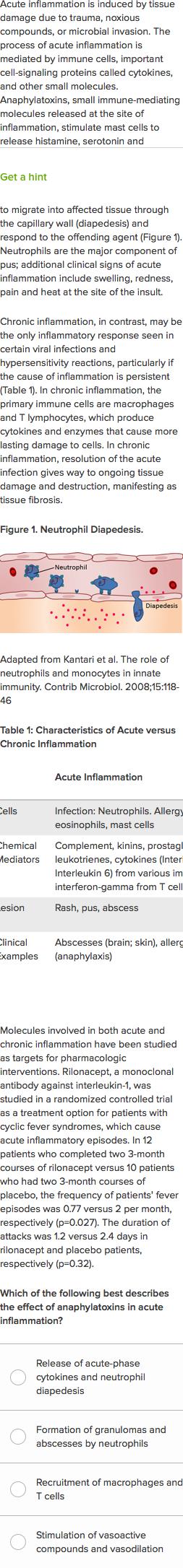 Immunology of acute vs  chronic inflammation (practice) | Khan Academy