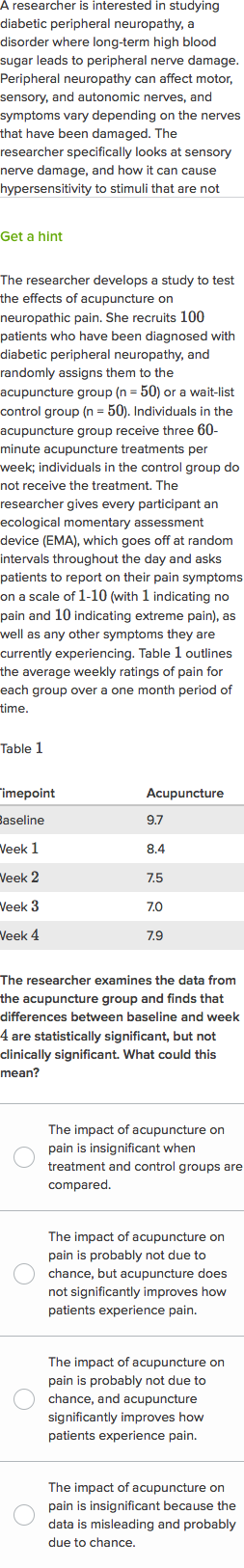 Diabetic peripheral neuropathy, pain, and acupuncture